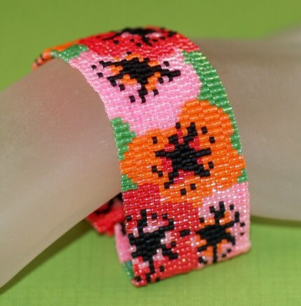 Poppies - Peyote Bracelet / Cuff for Flower Lovers (3182)