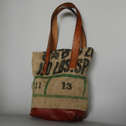 ECO FRIENDLY TOTE BAG - vintage burlap sack and leather