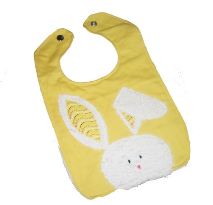 PEEK A BOO BUNNY YELLOW Baby Bib by whimsicalkids on Etsy from etsy.com
