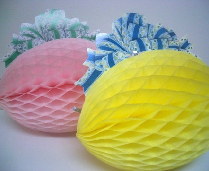 Retro Pink and Yellow Easter Egg Paper Decorations