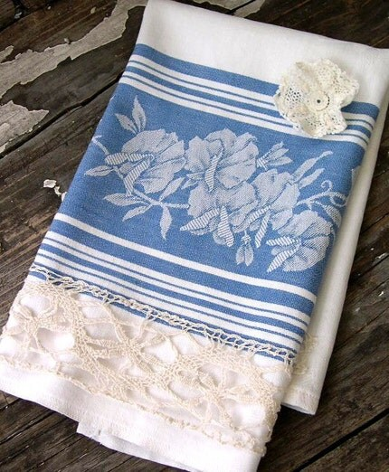 Vintage Blue and White Damask with Doily TEA TOWEL