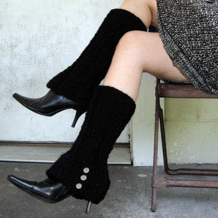 Faux Boot Legwarmers in BLACK with Spat Style Buttons - FREE SHIPPING WORLDWIDE