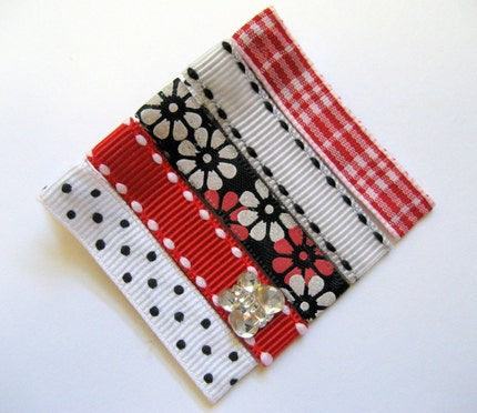 SALE - RED BLACK WHITE MIX - Set of 5 Boutique Hair Clips - Girls