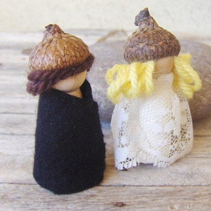 Woodland Acorn Pixies - Bride and Groom/Wedding