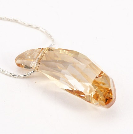 Golden Dewdrop Crystal and Sterling Silver Necklace