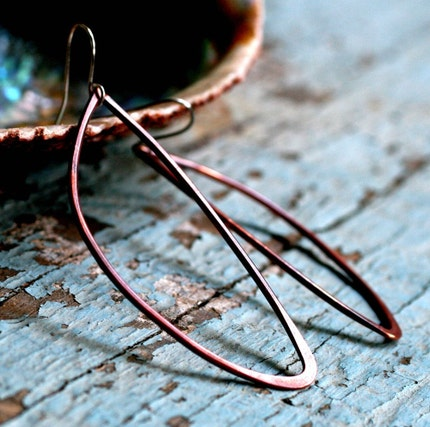 copper WING earrings