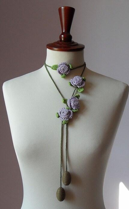 CARAMELLA Handknit Crochet Lariat - Lilac