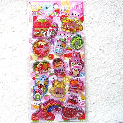 Kawaii Glittery Water And Beads In Stickers Fruits Bunny By Kamio Japan L Size (S164)