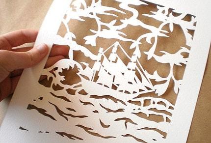 Wanderlust Original Papercut by TheTimeIsNow