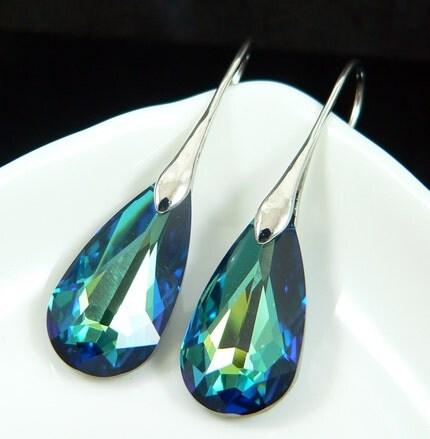 Bermuda Blue Faceted Teardrop Crystal Earrings