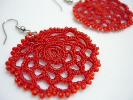 Rose Earrings Etsy Rose Earrings Crocheted in Red