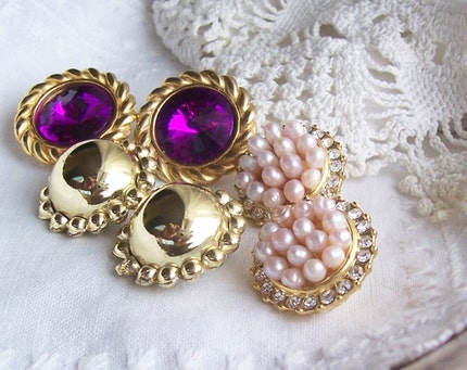 Retro Ear Bobs - 3 Pair of Vintage Clip On Earrings for Wear or ReCreation