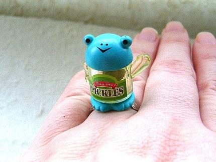 Kawaii Cute Japanese Ring - Pickles in Frog Jar
