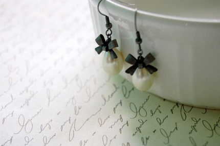 Silver and Pearl Bow Earrings Buy 3 Get 1 Free