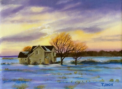 Farm House at Dusk   Original    6 X 8
