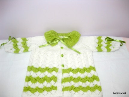 SALE-GREEN AND WHITE- jacket- baby cardigan