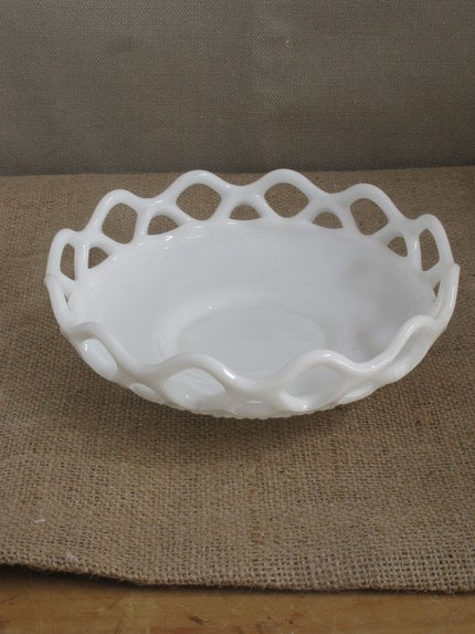 Bowl -1940s Lace Edge Footed Milk Glass