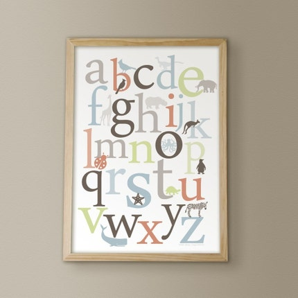 BOGO SALE - ABC Alphabet Animals - Earth - 11x14 Archival Giclee Print