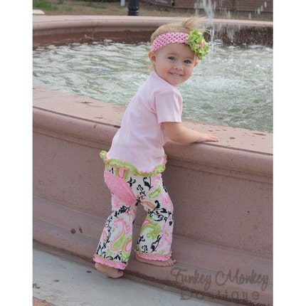 Pink and  Green Paisley Minky Dot Booty Pants Custom Size 0 6 12 18 24 36 months