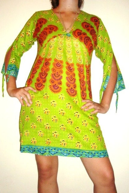 Dont Worry be Hippy....Kaftan dress in indian print GREEN