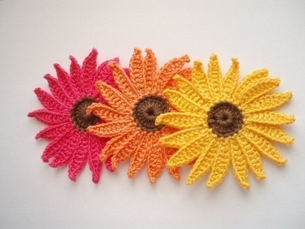 Crochet Applique Embellishment - 3 Gerbera Daisies Hot Pink Melon Gold - other colors available
