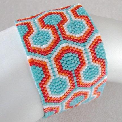 Colorful Interlock  Peyote Cuff (2467)