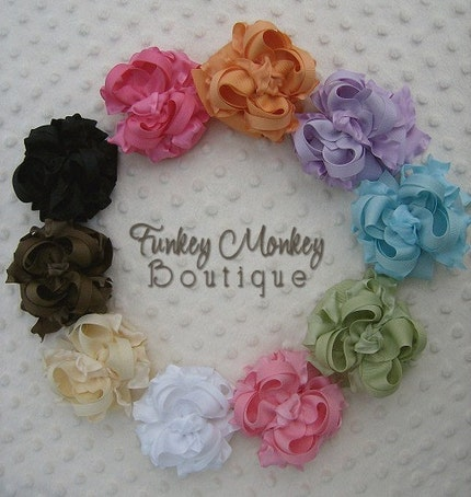 Boutique  Mini Ruffle Ribbon Layered Hair Bow - Many Colors to Pick From