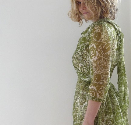 green/white silk chiffon dress