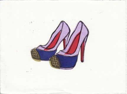 Christian Louboutin Maggie shoes linocut block print