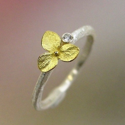 Hydrangea Blossom, Diamond Stacking Ring, Sterling Silver, 18k Gold Flower