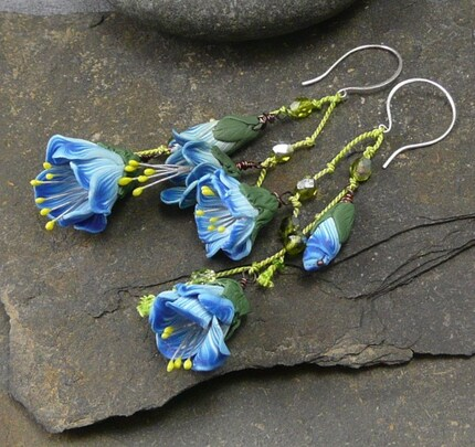 Blue and White Dancing Flowers Earrings