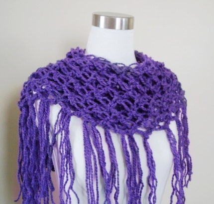 MERMAID Fringe Stole in PLUM BERRY - READY TO SHIP