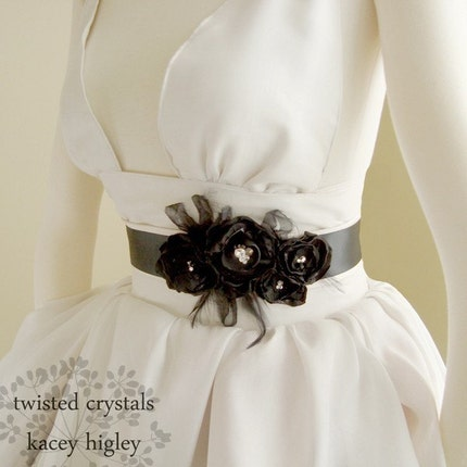 Midnight black flower belt filled with Swarovski crystals and dusted with feathers. For your wedding, favorite dress and holiday party. Ready to ship.