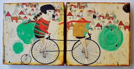Cycling-mixed media prints on wood panels