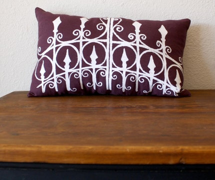 NEW COLOR - the Garden Gate in PURPLE - Hand Silk Screened Throw Pillow - 10 x 18