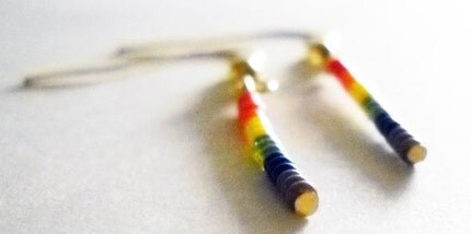 Say It Loud Glass Seed Bead Dangles - Gay and Queer Pride Earrings