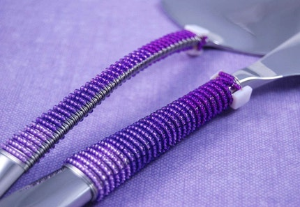 Wedding Cake Knife And Server Set Beaded In Shades Of Purple