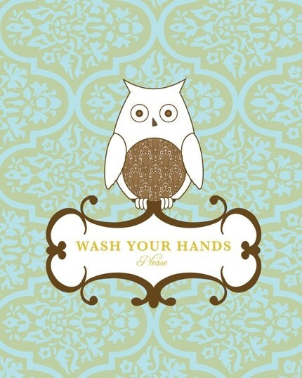 Wash Your Hands Owl 11x14