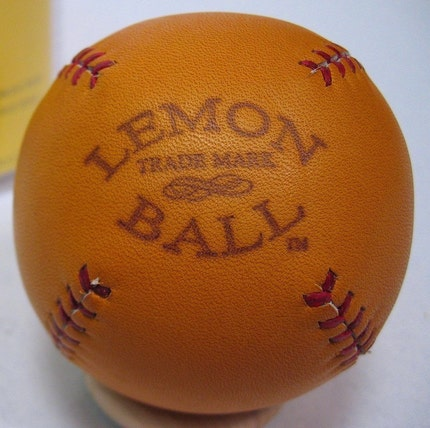 LEMON BALL Vintage style lemon peel baseball.  Tan with Red stitches