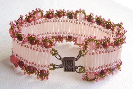 seed bead woven bracelet/cuff in baby pink