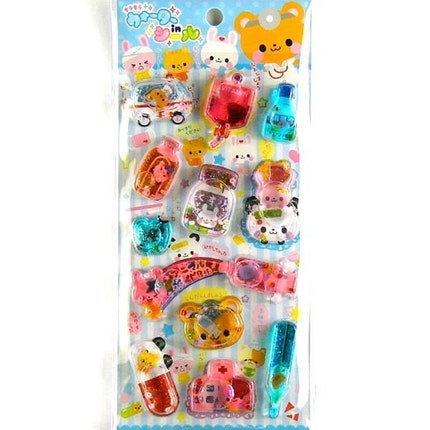 Kawaii Glittery Water And Beads In Stickers Animal Hospital By Pool Cool L Size (S433)