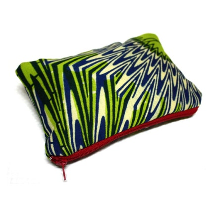 Green and Blue Ankara zipper pouch