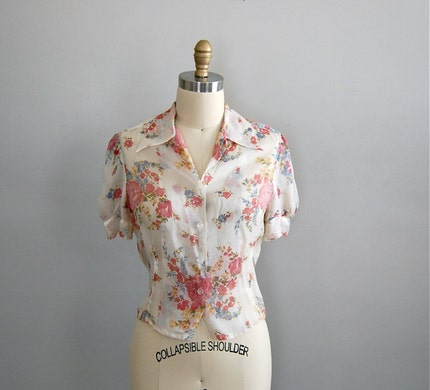 vintage 1940s SPRING BLOOM blouse