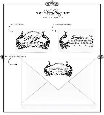 3 Piece Wedding Stamp Kit Pretty Peacock Custom Address and Favor Rubber Stamps