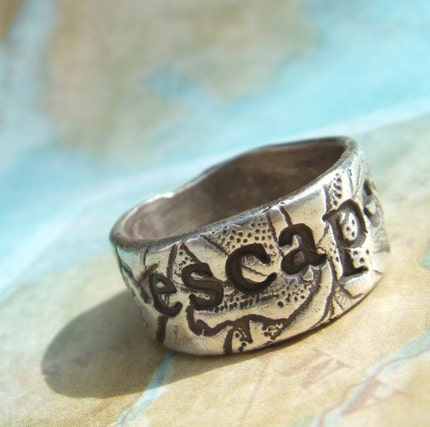 ESCAPE or EXPLORE, Personalized Custom Ring in RECYCLED Eco Friendly Fine Silver, Any size