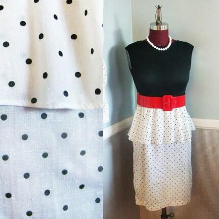 Black and White Polka Dot Sleeveless Dress- Vintage 1960s- Small