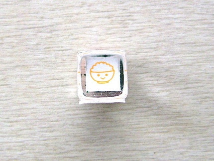 Cute Japanese Rubber Stamp Rice Bowl Baby Mini Mini Size