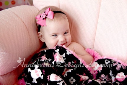 Hot Pink and Black Rhinestone Rockabilly Headband Babies/Toddlers/Big Girls/Adults