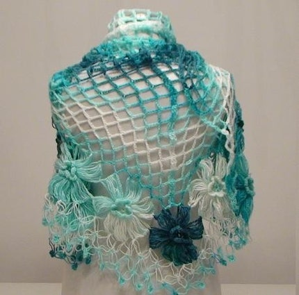 Turquoise Flower Mohair Triangle Shawl