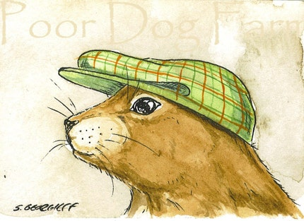 ACEO signed PRINT - Prairie dog in a hat